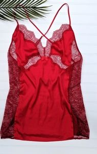 Victoria's Secret Red Silky Lace Chemise